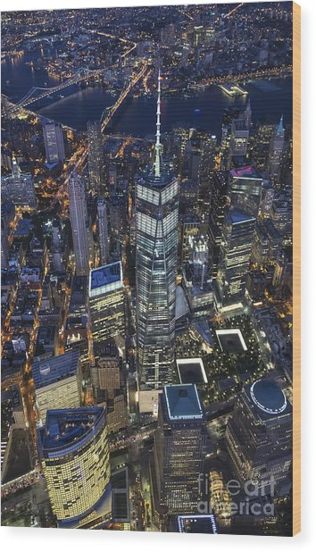 Nighttime Aerial View Of 1 Wtc Wood Print