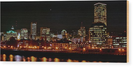 Nighttime In Pdx Wood Print