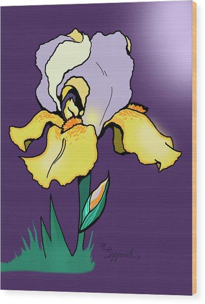 Nighttime Iris Wood Print