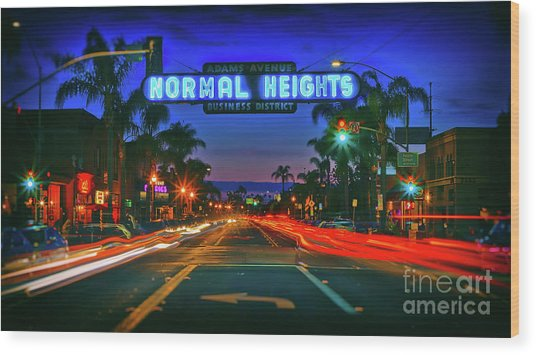 Nighttime Neon In Normal Heights, San Diego, California Wood Print