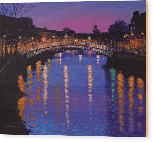 Nighttown Ha Penny Bridge Dublin Wood Print