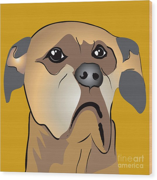 Niki Boxer Dog Portrait Wood Print