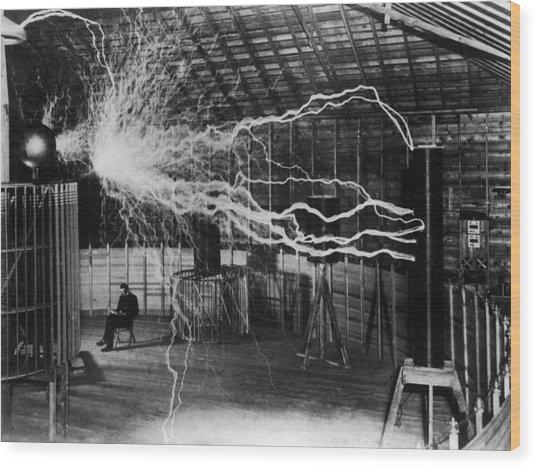 Nikola Tesla 1856-1943 Created A Double Wood Print