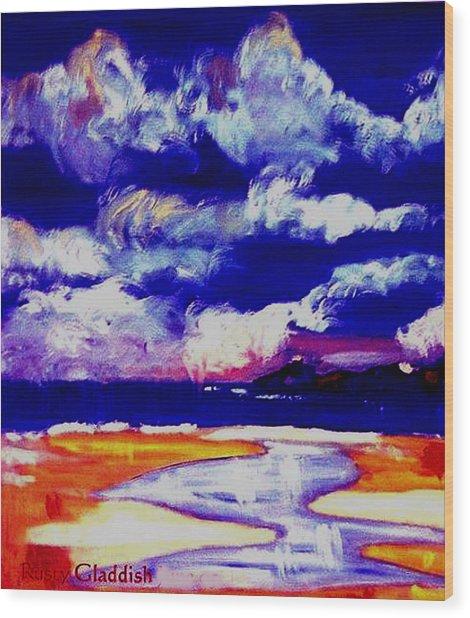 Nimbus Clouds Over Mumbles Wood Print by Rusty Gladdish