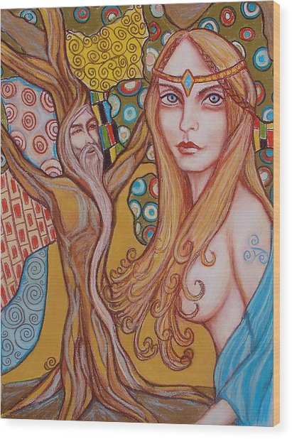 Nimue And Merlin Wood Print by Tammy Mae Moon