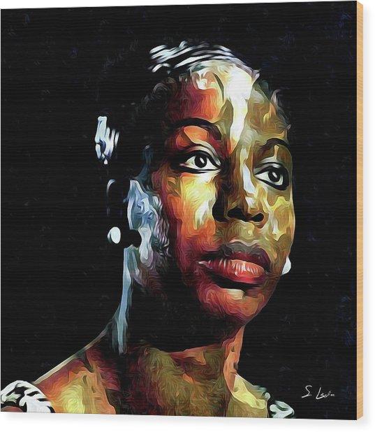 Nina Simone American Singer Wood Print