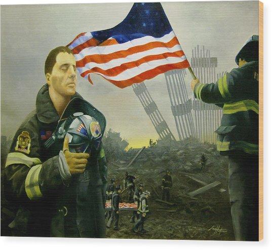 Nine Flags Eleven Fireman One Body Wood Print by Jim Horton