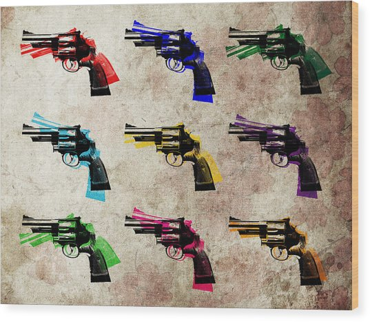 Nine Revolvers Wood Print by Michael Tompsett