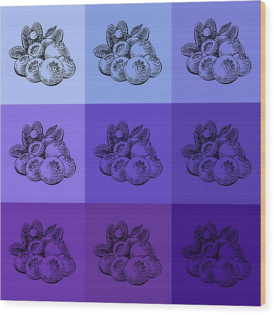 Nine Shades Of Blueberries Wood Print