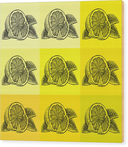 Nine Shades Of Lemon Wood Print