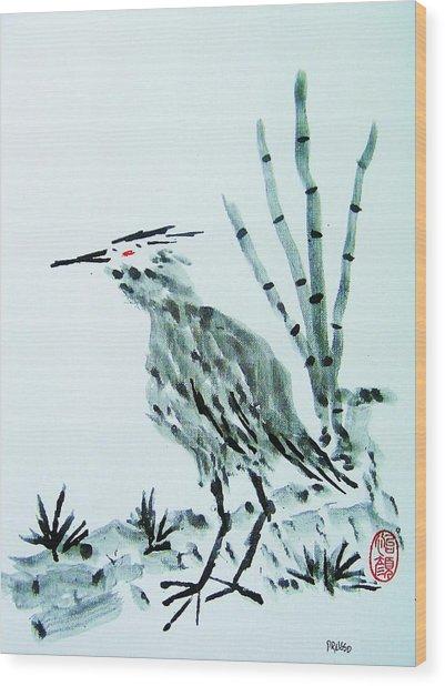 Nippon No Ao Sagi Wood Print