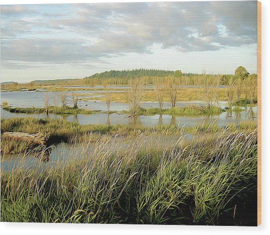 Nisqually Tide Coming In Wood Print