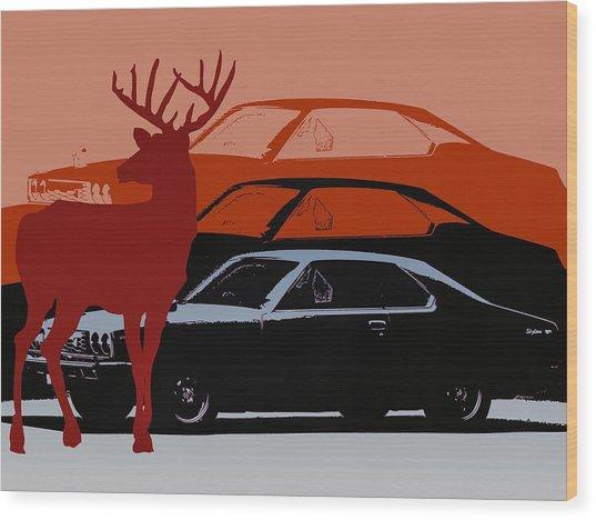 Nissan 210 With Deer 3 Wood Print