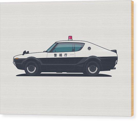 Nissan Skyline Gt-r C110 Japan Police Car Wood Print