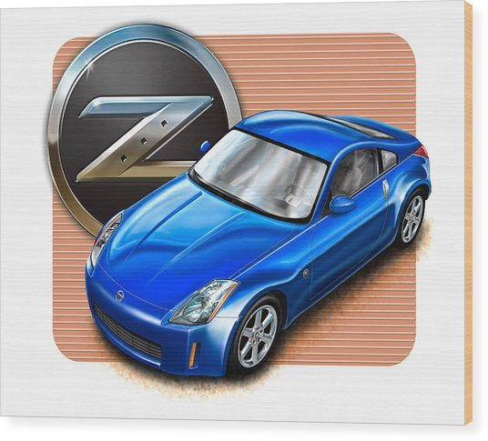 Nissan Z350 Blue Wood Print