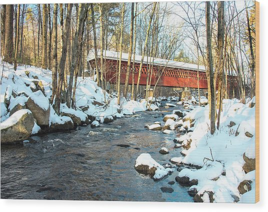 Nissitissit Covered Bridge Wood Print