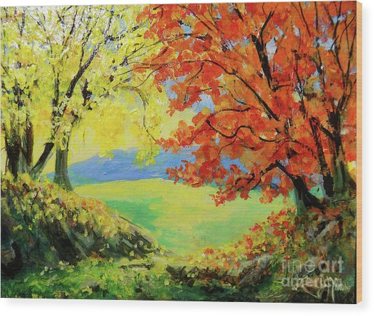 Nixon's Colorful View Of The Blue Ridge Wood Print