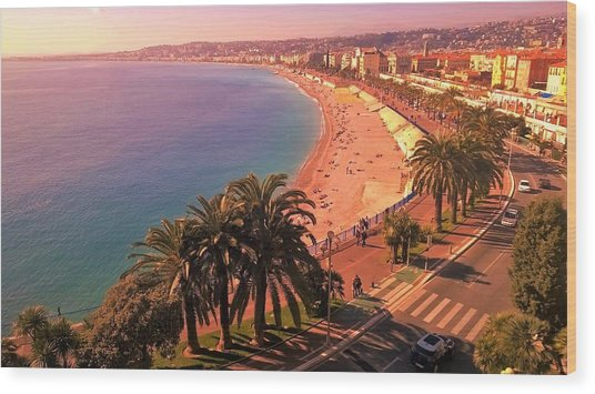 Nizza By The Sea Wood Print