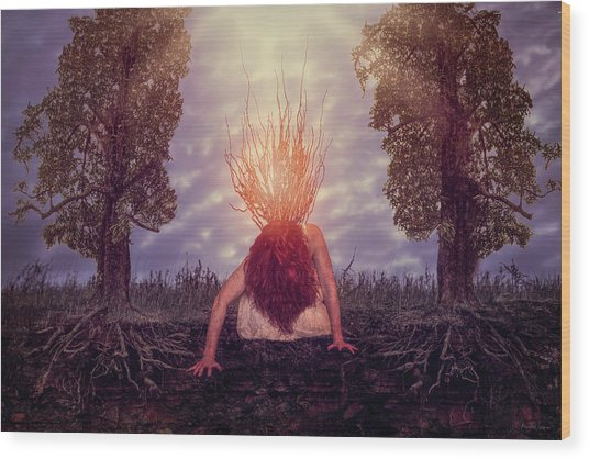 Wood Print featuring the digital art No Earthly Roots by Nicole Wilde