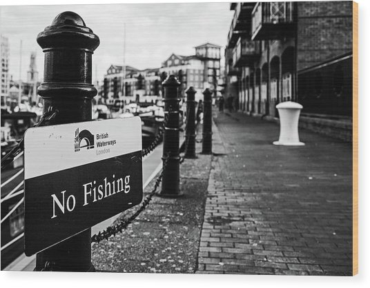 No Fishing Wood Print