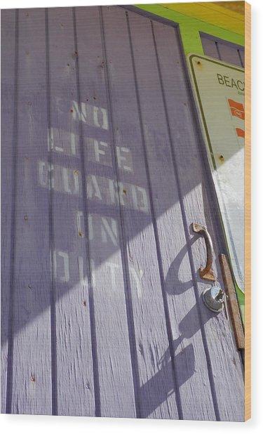 No Lifeguard On Duty - South Beach Wood Print