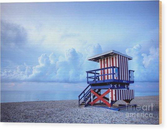 No Lifeguard On Duty Wood Print