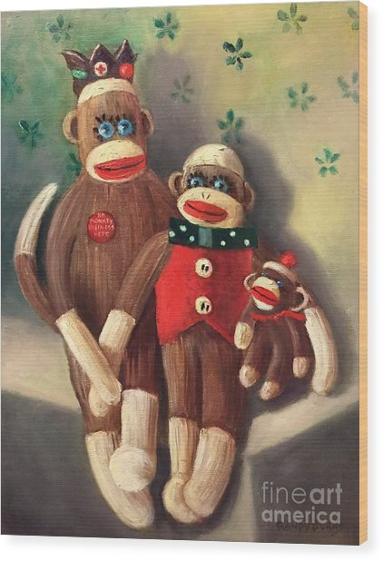 No Monkey Business Here 2 Wood Print