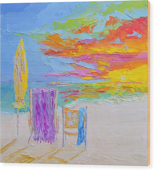 No Need For An Umbrella - Sunset At The Beach - Modern Impressionist Knife Palette Oil Painting Wood Print