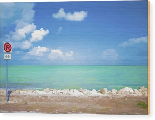 No Park Overseas Highway Us 1 Wood Print