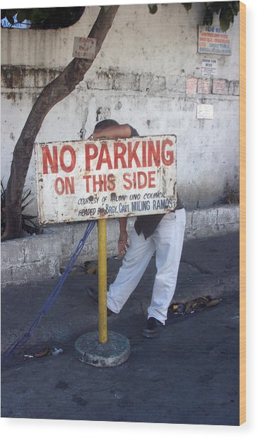 No Parking This Side 2 Wood Print by Jez C Self