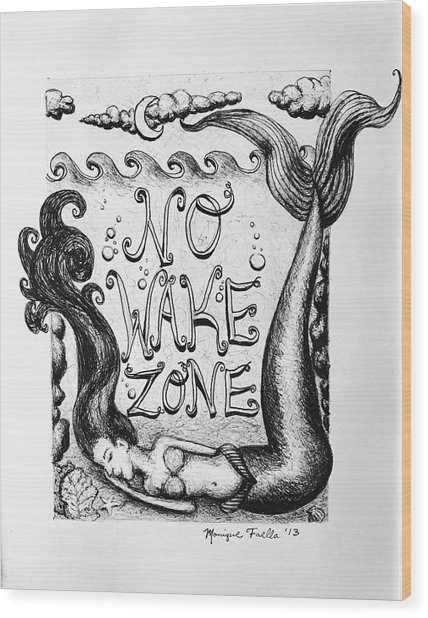 No Wake Zone, Mermaid Wood Print