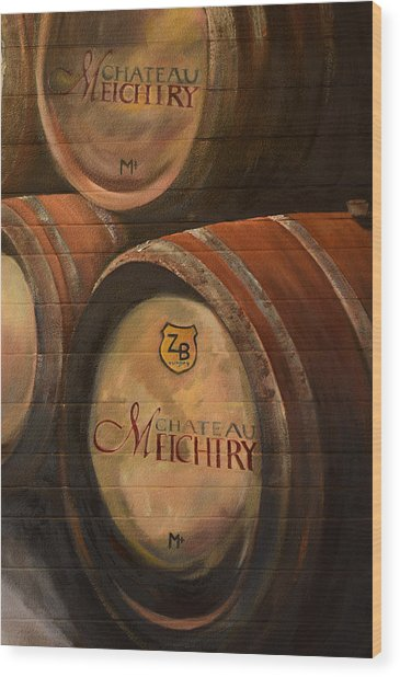 No Wine Before It's Time - Barrels-chateau Meichtry Wood Print
