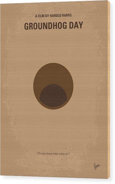 No031 My Groundhog Minimal Movie Poster Wood Print