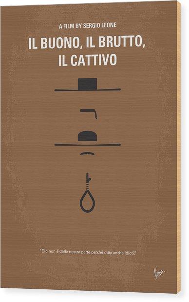 No042 My Il Buono Il Brutto Il Cattivo Minimal Movie Poster Wood Print