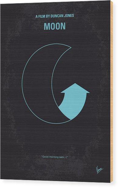 No053 My Moon 2009 Minimal Movie Poster Wood Print