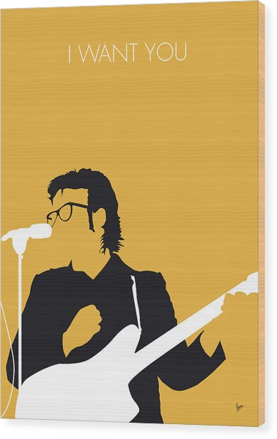 No067 My Elvis Costello Minimal Music Poster Wood Print
