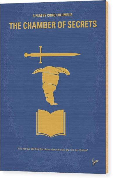 No101-2 My Hp - Chamber Of Secrets Minimal Movie Poster Wood Print
