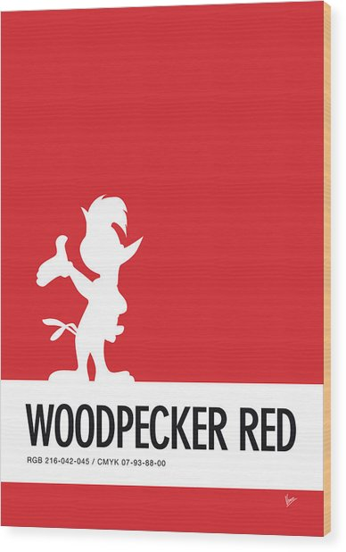 No12 My Minimal Color Code Poster Woody Woodpecker Wood Print