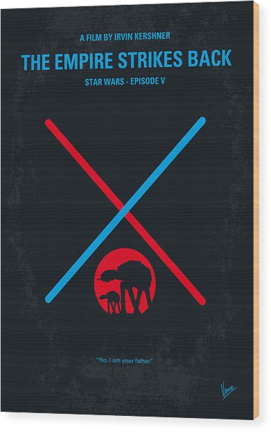 No155 My Star Wars Episode V The Empire Strikes Back Minimal Movie Poster Wood Print