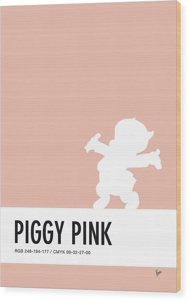 No17 My Minimal Color Code Poster Porky Pig Wood Print