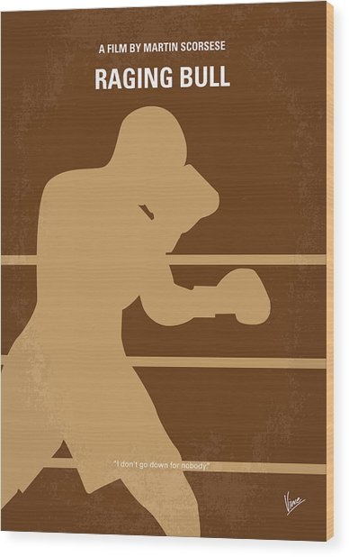 No174 My Raging Bull Minimal Movie Poster Wood Print