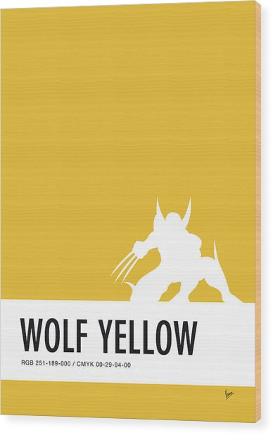 No21 My Minimal Color Code Poster Wolverine Wood Print