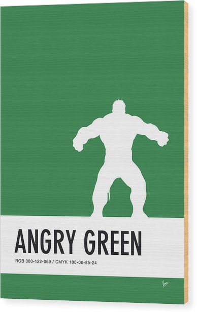 No22 My Minimal Color Code Poster Hulk Wood Print
