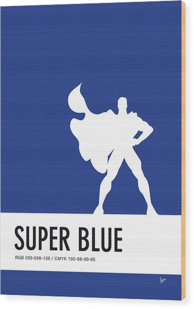 No23 My Minimal Color Code Poster Superman Wood Print