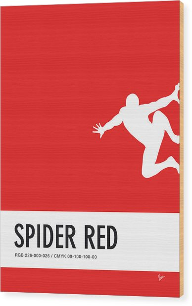 No24 My Minimal Color Code Poster Spiderman Wood Print