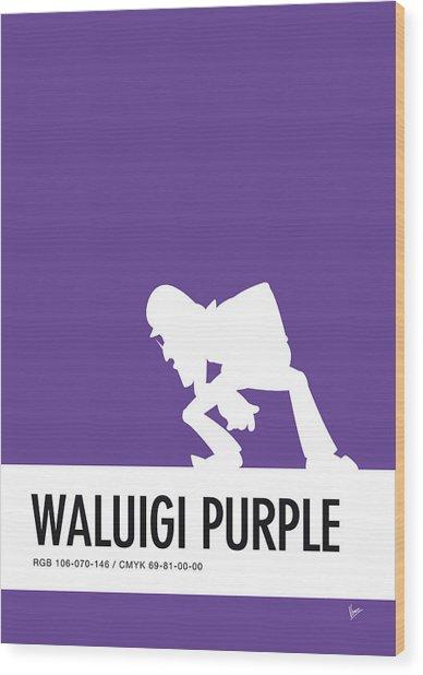 No42 My Minimal Color Code Poster Waluigi Wood Print
