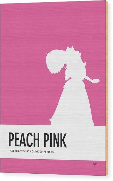 No44 My Minimal Color Code Poster Peach Wood Print