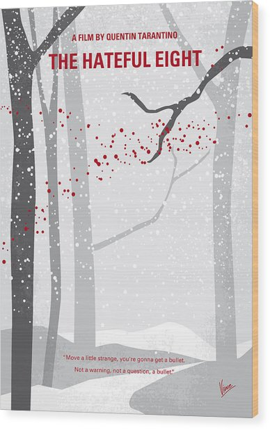 No502 My Hateful Eight Minimal Movie Poster Wood Print
