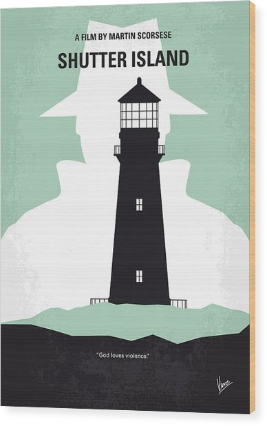No513 My Shutter Island Minimal Movie Poster Wood Print