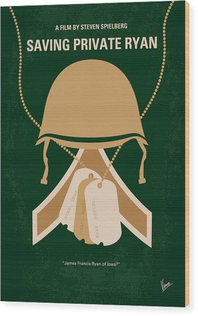 No520 My Saving Private Ryan Minimal Movie Poster Wood Print